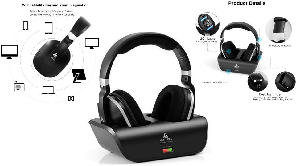 ARTISTE Wireless TV Headphones Over Ear Headsets